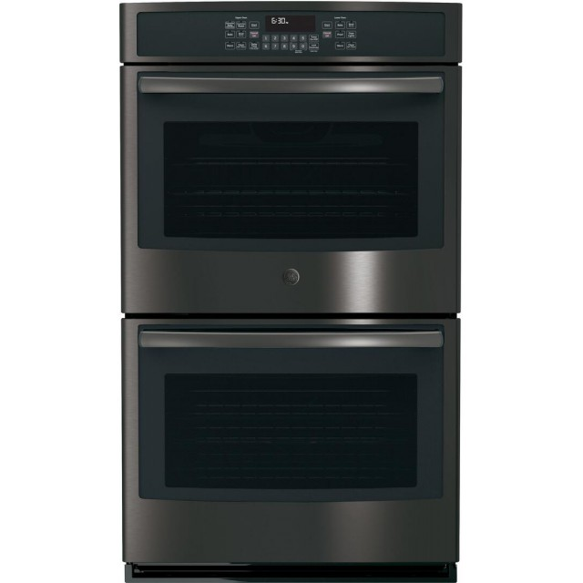 GE JT5500BLTS 30 Inch 10 cu. ft. Total Capacity Electric Double Wall Oven with 5 Oven Racks, Convection, Steam Clean, in Black Stainless Steel