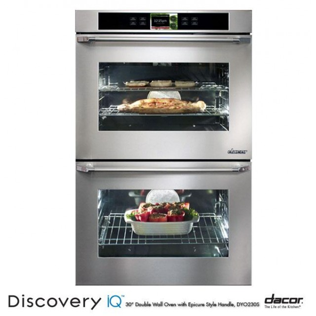 Dacor DYOV230B Discovery iQ Series 30 Inch 9.6 cu. ft. Total Capacity Electric Double Wall Oven with Convection in Stainless Steel