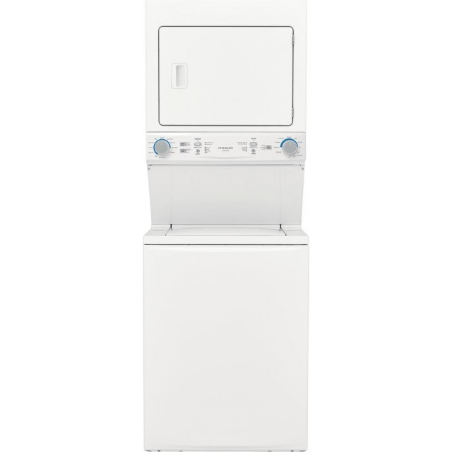 Frigidaire FLCG7522AW 27 Inch Gas Laundry Center with 3.9 cu. ft. Washer Capacity, 10 Wash Cycles, 5.6 cu. ft. Dryer Capacity, 10 Dry Cycles, MaxFill options, Child Lock, in White
