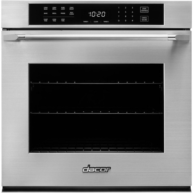 Dacor HWO127ES Heritage Series Professional 27 Inch Single Wall Oven with 4.5 cu. ft. Capacity, SoftShut™ Hinges, GreenClean™ Steam Cleaning Technology, Epicure Handle, in Stainless Steel