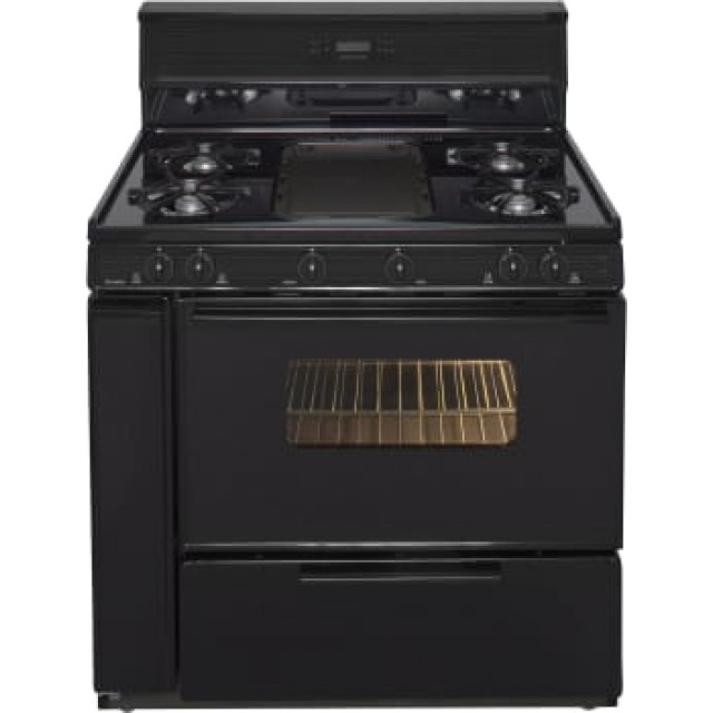 Premier SLK849BP 36 Inch Freestanding Gas Range with 5 Open Burners, Broiler Drawer, Electronic Ignition, in Black