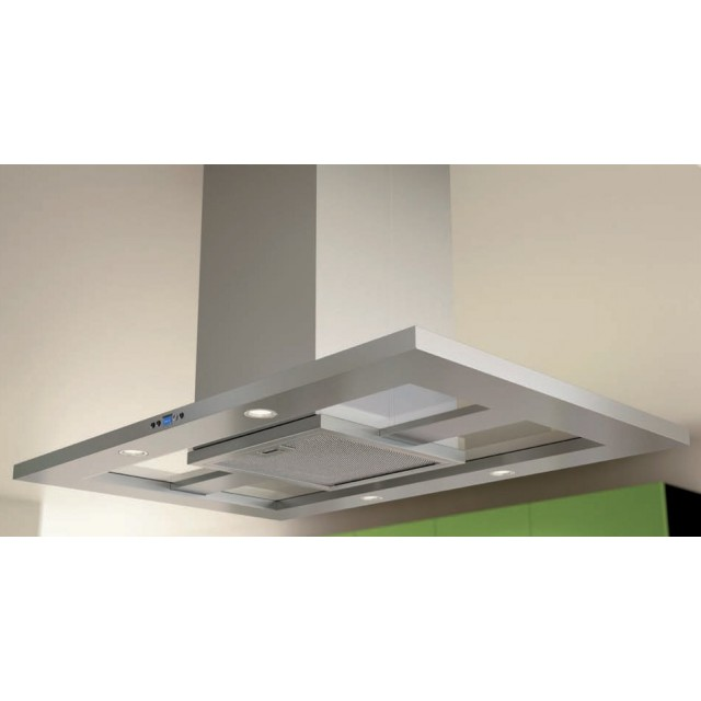 Zephyr ZMDE42AS Europa Modena Series 42 Inch Wide Island-Mount Chimney Range Hood with 715 CFM Internal Blower, DCBL Suppression System, 6 Speed Levels, LED Lighting and LCD Controls: in Stainless Steel