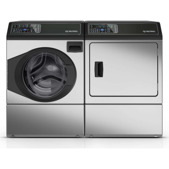 Speed Queen FF7005SN 27 Inch Front Load Washer with 3.48 cu. ft. Capacity and DF7000SG 27 Inch Gas Dryer with 7.0 cu. ft. Capacity, 5 Year Warranty, in Stainless Steel