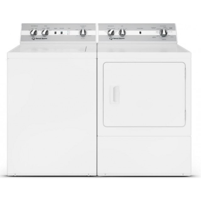 Speed Queen TC5000WN 26 Inch Top Load Washer with 3.2 cu. ft. Capacity and DC5000WE 27 Inch Electric Dryer with 7 cu. ft. Capacity, 3 Year Parts and Labor in White