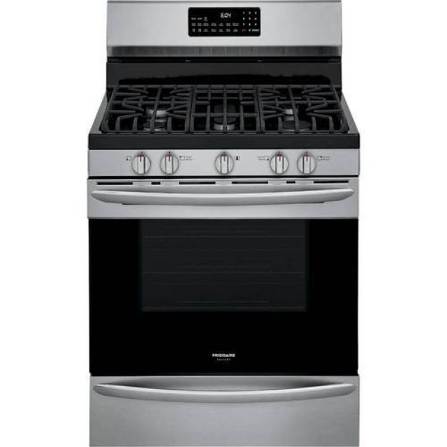 Frigidaire GCRG3060AF Gallery Series 30 Inch Freestanding Gas Range with 5 Sealed Burners, 5.7 Cu. Ft. True Convection Oven, Self Clean with Steam, Smudge-Proof™ Stainless Steel
