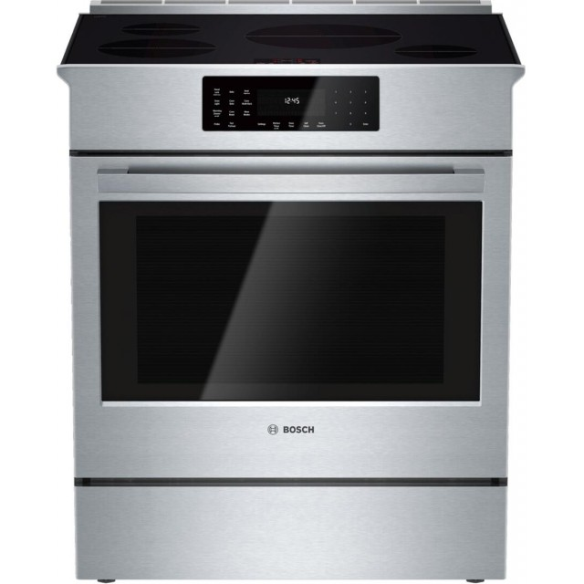 Bosch HII8055U 800 Series 30 Inch Slide-in Electric Induction Range with 4 Elements, Smoothtop, 4.6 cu. ft. Total Oven Capacity in Stainless Steel