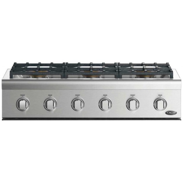 DCS CPV2366L 36 Inch Gas Rangetop with 6 Sealed Dual Flow Burners, Dishwasher Safe Continuous Grates, in Stainless Steel
