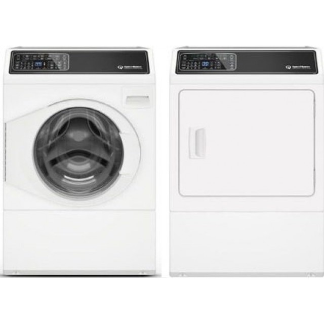 Speed Queen FF7005WN 27 Inch Front Load Washer with 3.48 cu. ft. Capacity and DF7000WG  27 Inch Gas Dryer with 7 cu. ft. Capacity, 7 Year Warranty, in White