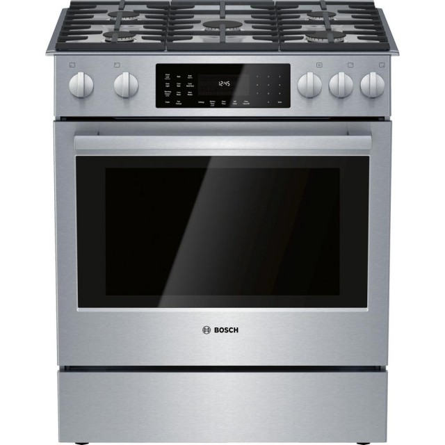 Bosch HDI8056U 800 Series 30 in. 4.6 cu. ft. Slide-In Dual Fuel Range with Self-Cleaning Convection Oven in Stainless Steel