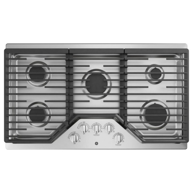 GE JGP5036SLSS 36 in. Built-In Gas Cooktop in Stainless Steel with 5 Burners Including Power Boil Burner