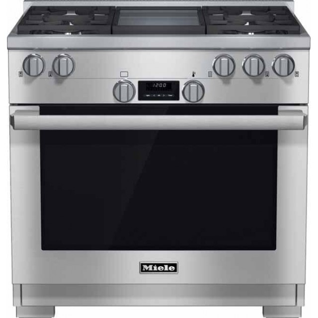 Miele HR1136GGD DirectSelect Series 36 Inch Freestanding All Gas Range with Natural Gas, 4 Sealed Burners, Griddle, 5.8 cu. ft. Total Oven Capacity in Sainless Steel