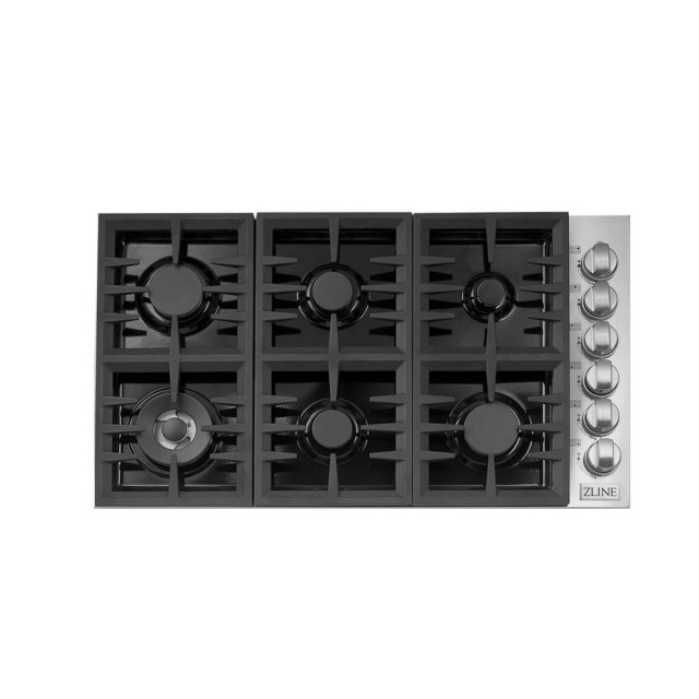 ZLINE 36 in. Dropin Cooktop with 6 Gas Burners and Black Porcelain Top (RC36-PBT)