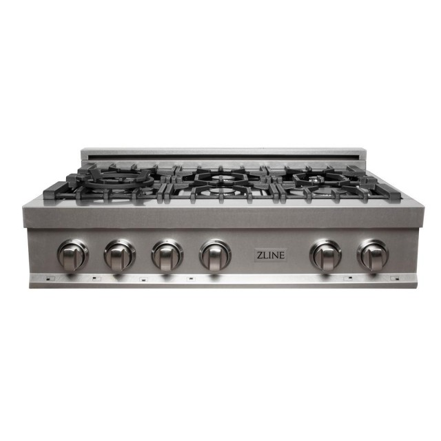 ZLINE 36 in. Porcelain Rangetop in DuraSnow® Stainless Steel with 6 Gas Burners (RTS-36)