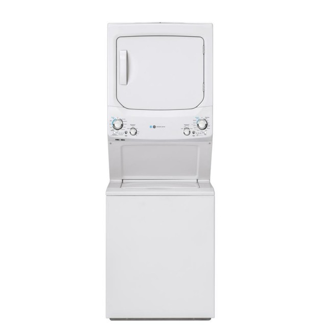 GE GUD27GESNWW White Laundry Center with 3.9 cu. ft. Washer and 5.9 cu. ft. 120 Volt Vented Gas Dryer, ENERGY STAR