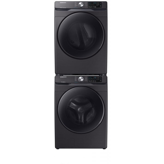 Samsung WF45R6100AV 27 Inch Front Load Washer with 4.5 cu. ft. Capacity, Stackable and DVG45R6100V 27 Inch Gas Dryer with 7.5 cu. ft. Capacity, Steam Cycle, in Fingerprint Resistant Black Stainless Steel
