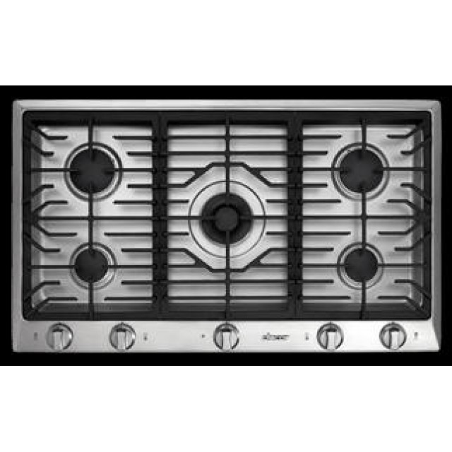 Dacor DCT365BLP 36 Inch Gas Cooktop with 5 Sealed Burners, SimmerSear Burner w/ Melting Feature, Continuous Grates, Perma-Flame Ignition, Smart Flame Technology and Illumina Indicator Lights: Black, Liquid Propane