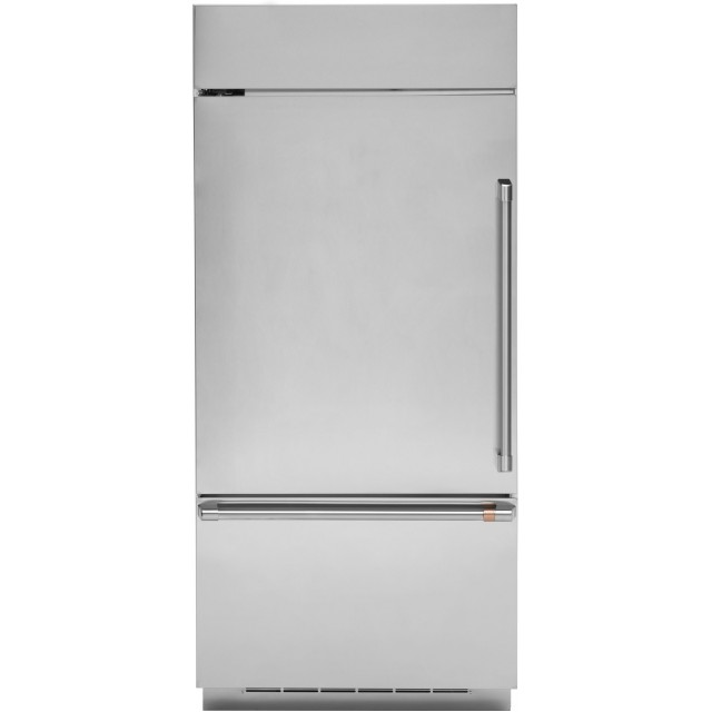 Cafe CDB36LP2PS1 36 Inch Built-In Smart Bottom Freezer Refrigerator with 21.3 Cu. Ft. Capacity, Adjustable Glass Shelves, Full Extension Snack Drawers, Electronic Digital Temperature Display, and Sabbath Mode: Left Hinge