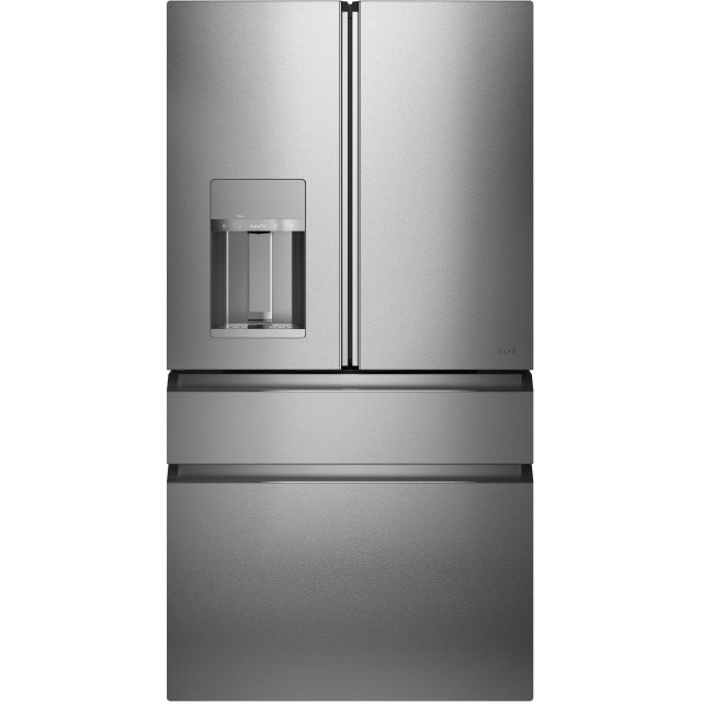 Cafe Modern Glass Collection CVE28DM5NS5 36 Inch Smart 4-Door French-Door Refrigerator with 27.6 Cu. Ft. Capacity, WiFi Connect, TwinChill™ Evaporators, LED Light Tower, Auto Fill Water Dispenser, Humidity Control System, and Full-Width Freezer Tray