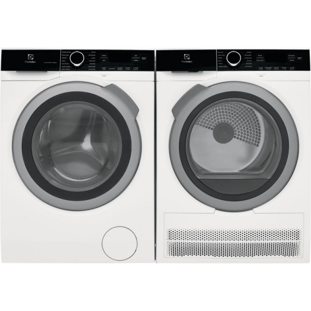 Electrolux ELFW4222AW 24 Inch Front Load Compact Washer with 2.4 cu. ft. Capacity and ELFE4222AW 24 Inch Electric Ventless Dyer with 4.0 cu. ft. Capacity in White
