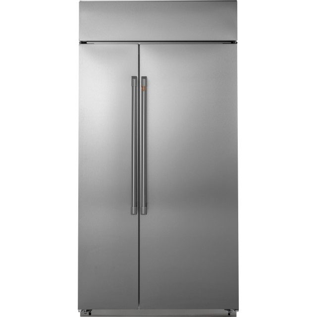 Cafe CSB48WP2NS1 48 Inch Built-in Side-by-Side Smart Refrigerator with 29.6 Cu. Ft. Capacity, LED Lighting, Door Alarm, Multi-Shelf Air Tower, Wi-Fi, Remote Diagnostics, and Water Filtered Ice Maker
