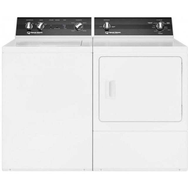 Speed Queen TR3003WN 26 Inch Top Load Washer with 3.2 cu. ft. Capacity and DR3003WG 27 Inch Gas Dryer with 7 Cu. Ft. Capacity, Sanitize, Reversible Door, Interior Light, 220-CFM Exhaust, 3 Temperature Selections, 3 Year Warranty, in White