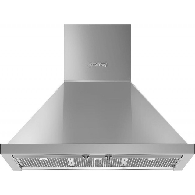 Smeg KPF30UX Portofino Series 30 Inch Wall Mount Ducted Hood with 600 CFM, LED Lights, Bright LED Lighting in Stainless Steel