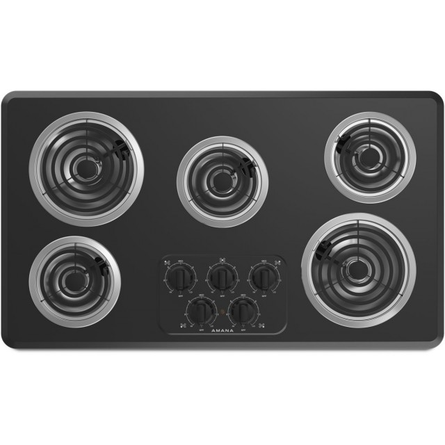 Amana ACC6356KFB 36 Inch Electric Cooktop with 5 Heating Elements, Right Controls, Chrome Drip Pan and Dishwasher Safe Knobs: Black