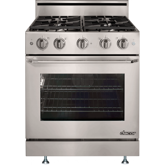 Dacor DR30GSLP Distinctive Series 30 Inch Freestanding Gas Range with 4.8 cu. ft. Convection Oven, 4 Burners, Illuminated Knob Controls and Epicure Handle: Liquid Propane, in Stainless Steel
