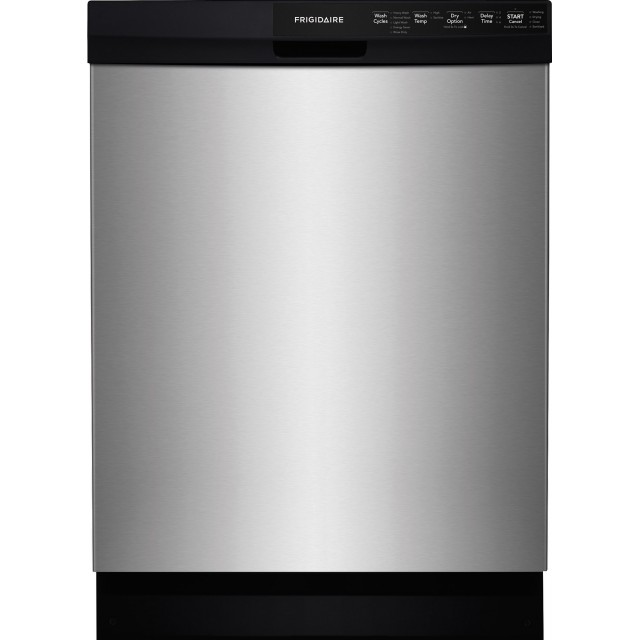 Frigidaire FFBD2412SS Full Console Dishwasher with SpaceWise® Silverware Basket, Effortless™ Dry, Food Disposer, 14-Place Settings, 5 Wash Cycles, No-Heat Dry Option, 55 dBA Silence Rating: Stainless Steel