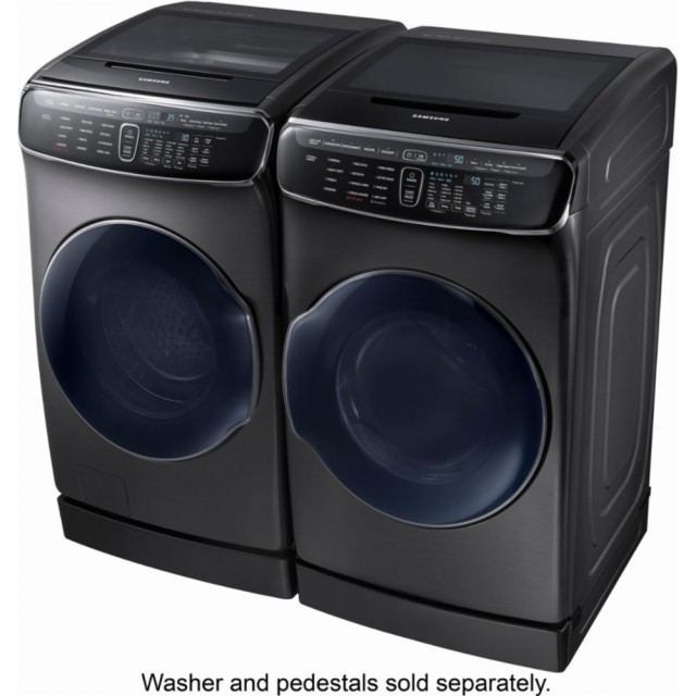 Samsung WV60M9900AV 6.0 cu. ft. High-Efficiency FlexWash Washer and Samsung DVE60M9900V 7.5 cu. ft. Electric FlexDry Dryer with Steam in Black Stainless Steel