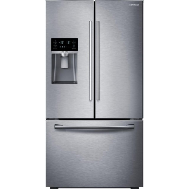 Samsung RF23HCEDBSR 22.5 cu. ft. Counter Depth French Door Refrigerator and NX58M9420SS 30 in. 5.8 cu. ft. Single Oven Gas Slide-In Range with Self-Cleaning and Fan Convection Oven in Stainless Steel