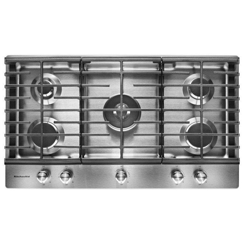 KitchenAid KCGS556ESS 36 In. Gas Cooktop In Stainless Steel With 5 Burners  Including A Professional Dual ...