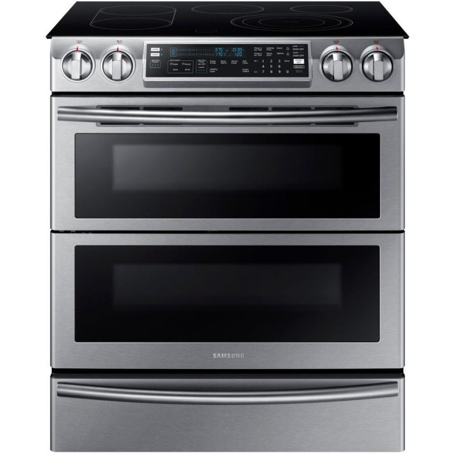 Samsung NE58K9850WS Flex Duo 5.8 cu. ft. Slide-In Double Oven Electric Range with Self-Cleaning Convection Oven in Stainless Steel