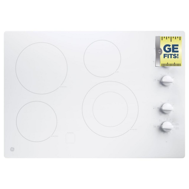 GE JP3530TJWW 30 in. Radiant Electric Cooktop in White with 4 Elements including Power Boil