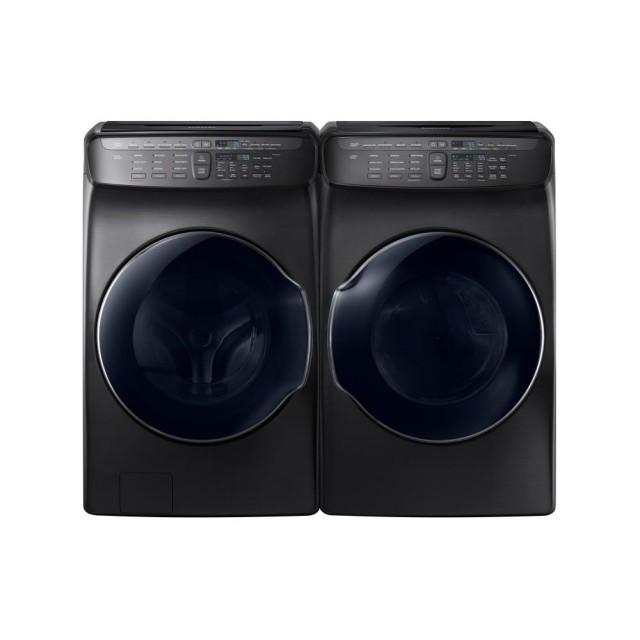 Samsung WV55M9600AV 5.5 Total cu. ft. High-Efficiency FlexWash Washer in Black Stainless, DVE55M9600V 7.5 Total cu. ft. Electric FlexDry Dryer with Steam in Black Stainless
