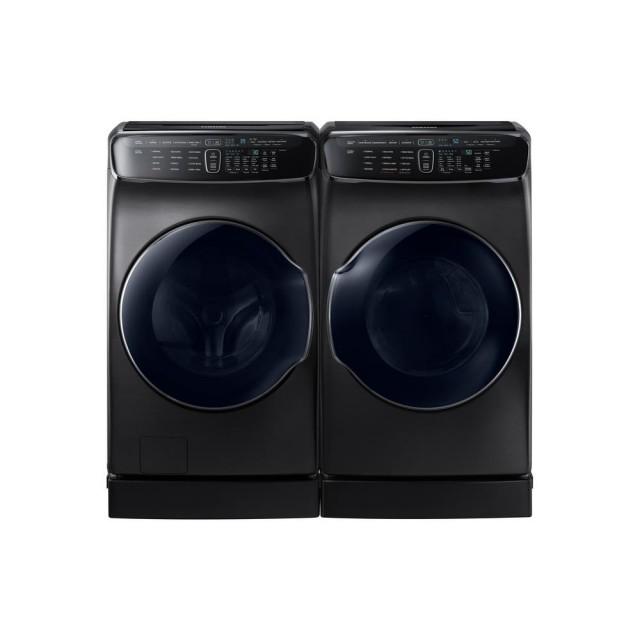 Samsung WV60M9900AV 6.0 cu. ft. High-Efficiency FlexWash Washer in Black Stainless Steel, DVG60M9900V 7.5 cu. ft. Gas FlexDry Dryer with Steam in Black Stainless Steel