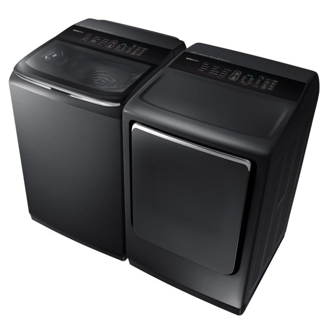 Samsung WA54M8750AV 5.4 cu. ft. High-Efficiency Top Load Washer with Activewash and Steam and DVE54M8750V 27 in. 7.4 cu. ft. Electric Dryer, Energy Star Certified, VentSensor, Drum Lighting, Multi-Steam Technology in Black Stainless Steel   ENE