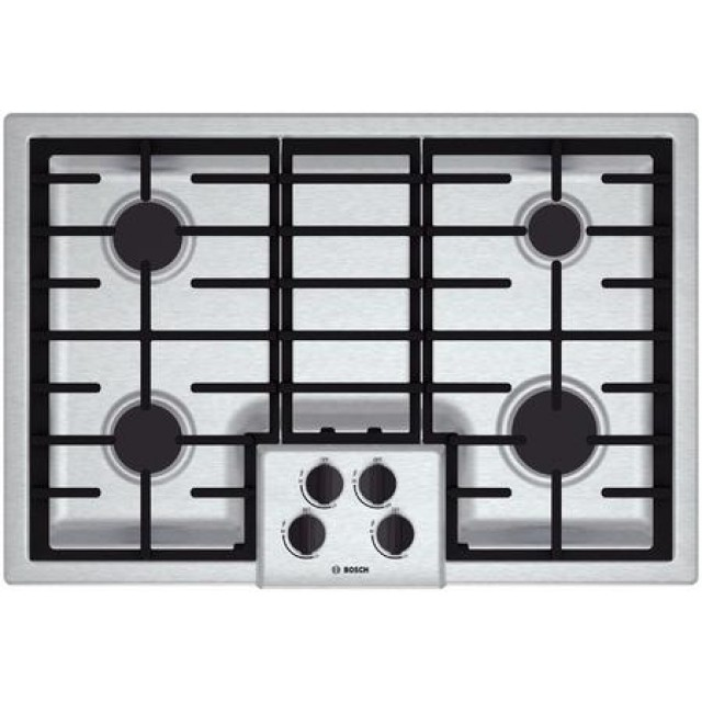 Bosch NGM5055UC 500 Series 31 Inch Natural Gas Cooktop with 4 Sealed Burners, in Stainless Steel