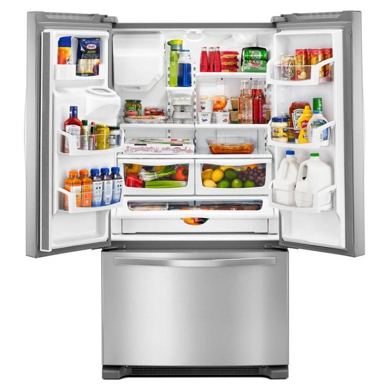 whirlpool wrf555sdfz 36 in w 25 cu ft french door refrigerator in fingerprint resistant. Black Bedroom Furniture Sets. Home Design Ideas