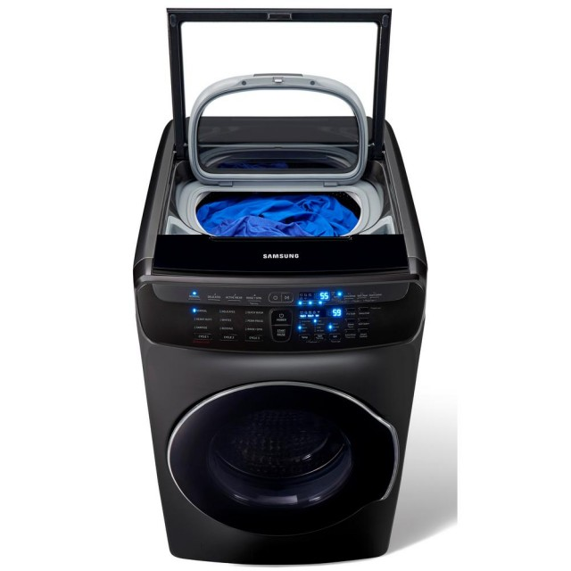 Samsung WV55M9600AV 5.5 Total cu. ft. High-Efficiency FlexWash Washer in Black Stainless Steel