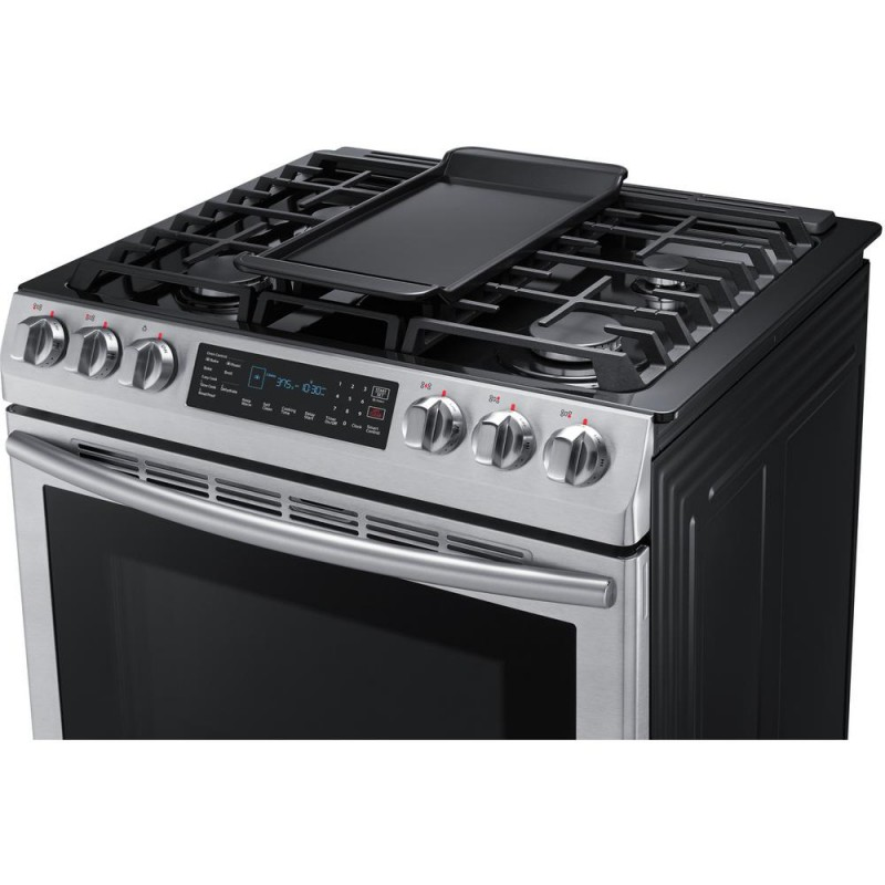 ca3feb238a4 Samsung NX58M9420SS 30 in. 5.8 cu. ft. Single Oven Gas Slide-In Range with  Self-Cleaning and Fan Convection Oven in Stainless Steel