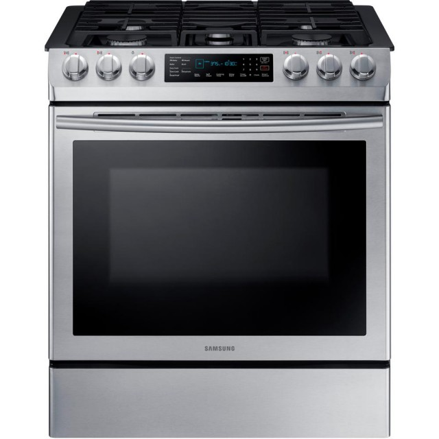 Samsung NX58M9420SS 30 in. 5.8 cu. ft. Single Oven Gas Slide-In Range with Self-Cleaning and Fan Convection Oven in Stainless Steel