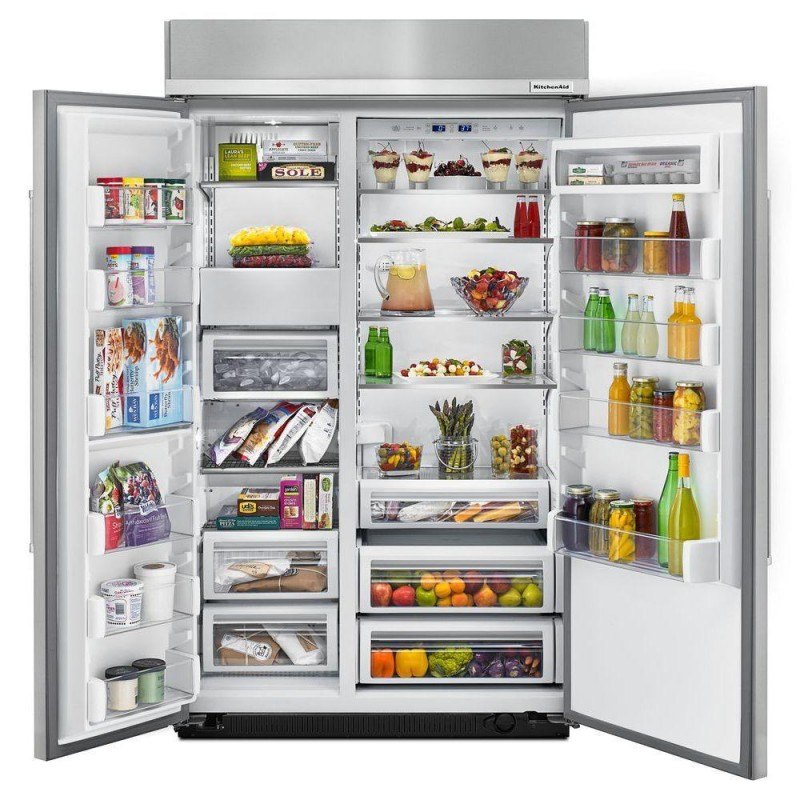 KitchenAid KBSN608EPA 48 inch 30 cu  ft  Built-In Side by Side Refrigerator  in Panel Ready