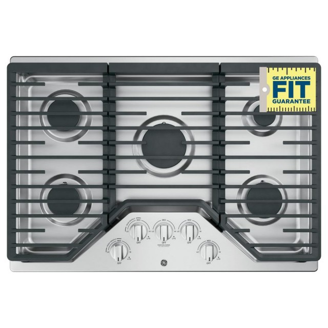 GE JGP5030SLSS 30 in. Gas Cooktop in Stainless Steel with 5 Burners including Power Burners