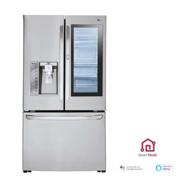 LG LFXC24796S 24 cu. ft. 3-Door French Door Smart Refrigerator with InstaView Door-in-Door in Stainless Steel, Counter Depth