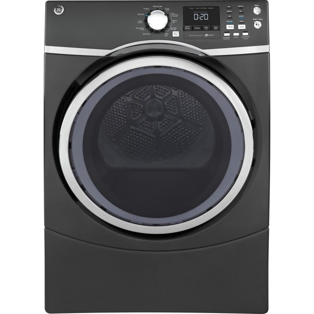 GE GFD45GSPKDG 7.5 cu. ft. 240 Volt Diamond Gray Stackable Gas Vented Dryer with Steam