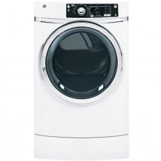 GE 8.1 cu. ft. Right Height Front Load Gas Dryer with Steam in White, Pedestal Included