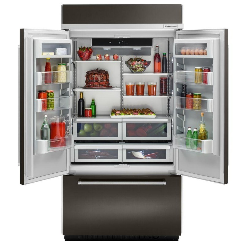 Kitchenaid KBFN502EBS 24.2 cu. ft. French Door Refrigerator with 4  Cantilever Glass Shelves, Preserva Food Care System, Automatic Ice Maker,  Platinum ...