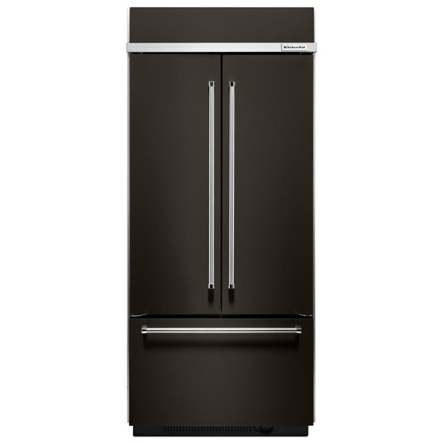 Kitchenaid KBFN506EBS 20.8 cu. ft. French Door Refrigerator with 4 Cantilever Spill-Proof Glass Shelves, 3 Humidity Controlled Drawers, Preserva Food Care System, Platinum Interior and Intuitive Controls