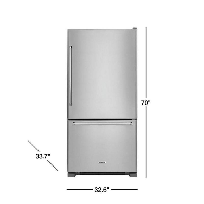 KitchenAid KRBR102ESS 22 cu. ft. Bottom Freezer Refrigerator in Stainless  Steel